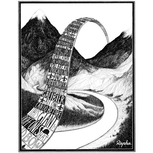 Col du Galibier Black and white poster