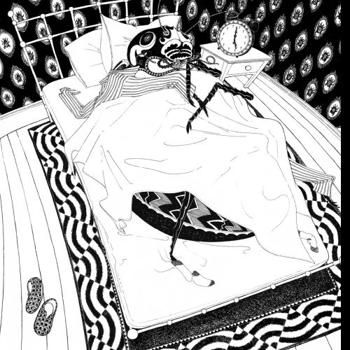 Black & White Sketch of Insect Sleeping
