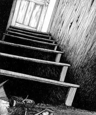 Stairs black & white drawing