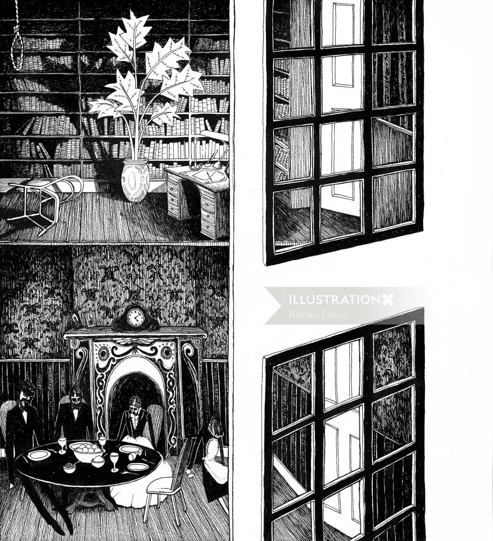 The Mistletoe Bride black and white illustration