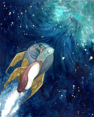Fantasy illustration of boy in spaceship