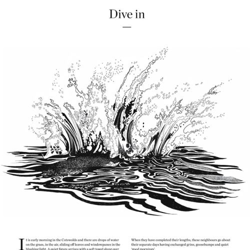 Dive in water illustration