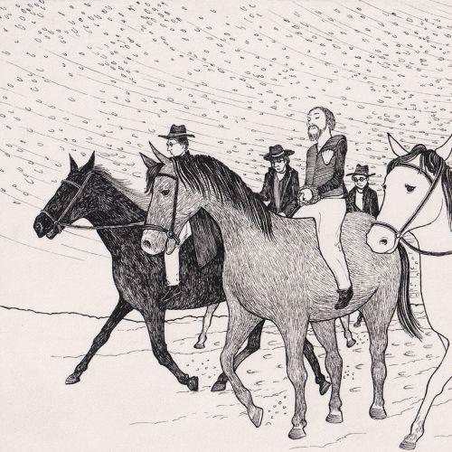 Pen & ink illustration of horse riding