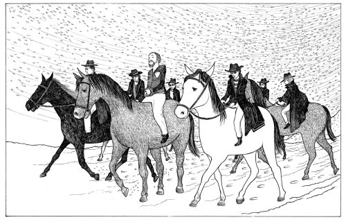 Pen & ink illustration of horse riding