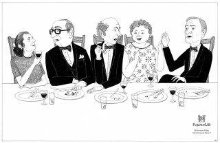 People Having Dinner Party Illustration