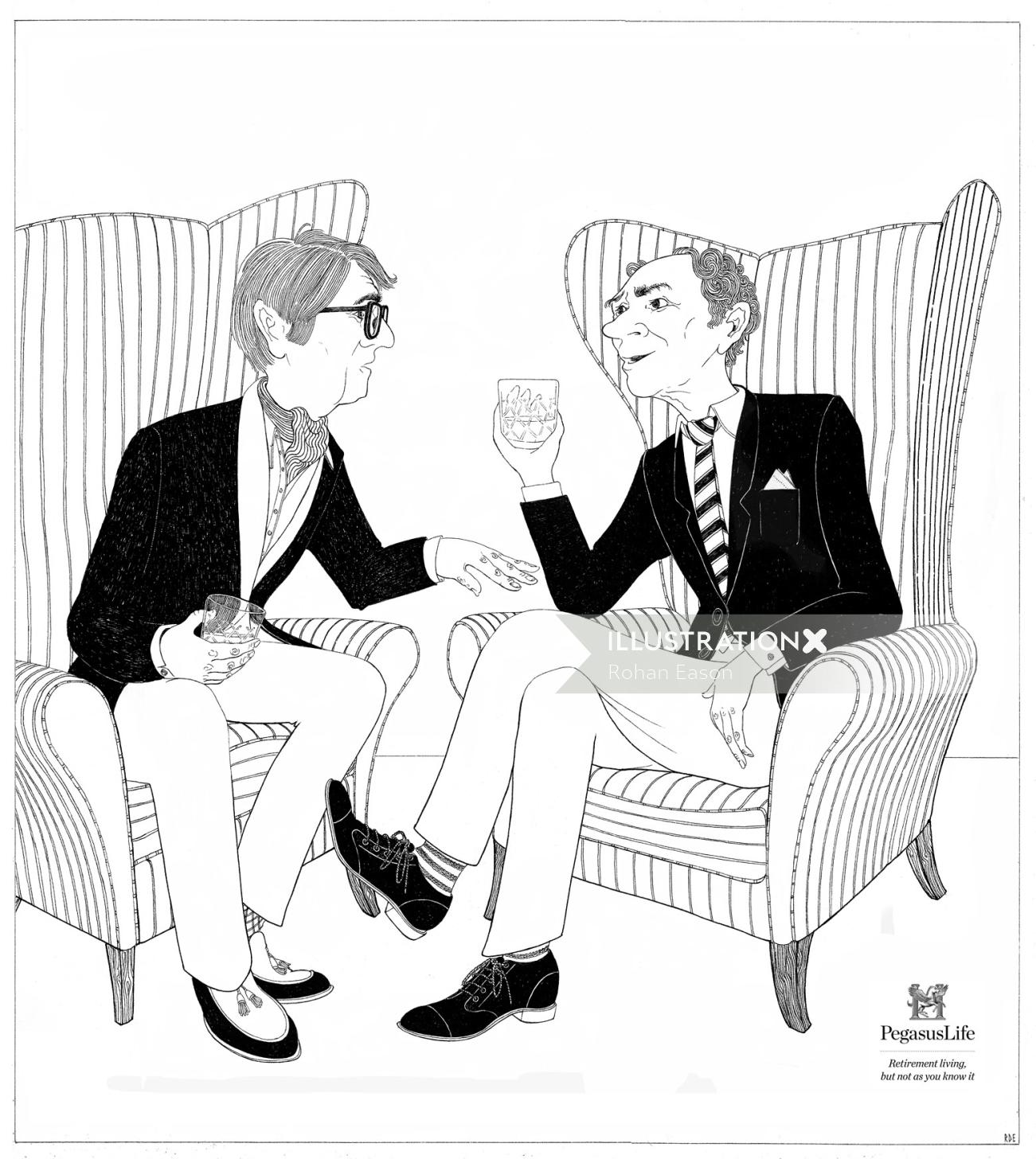 Retro illustration of two old friends drinker
