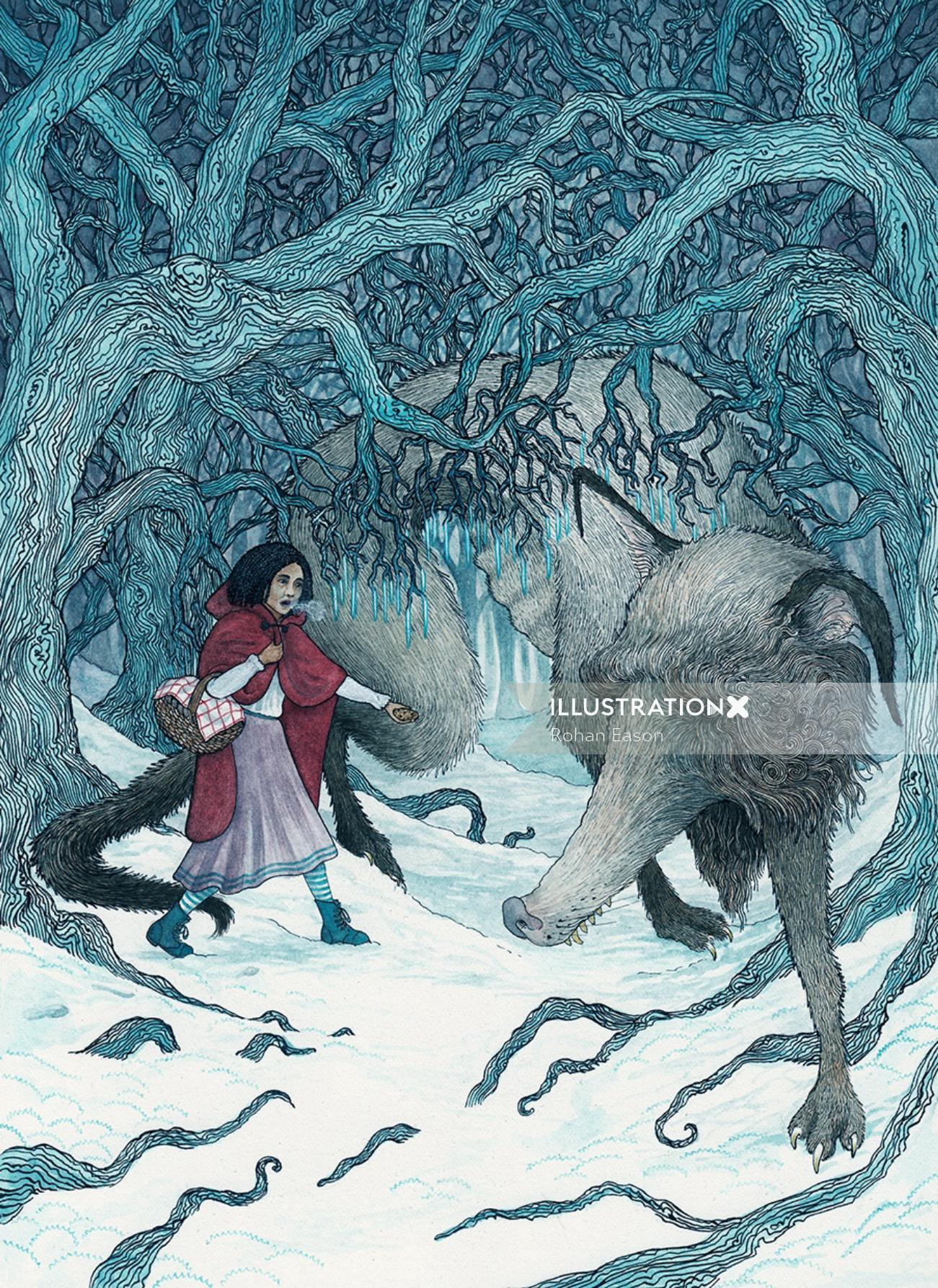 Red Riding Hood Fantasy Illustration