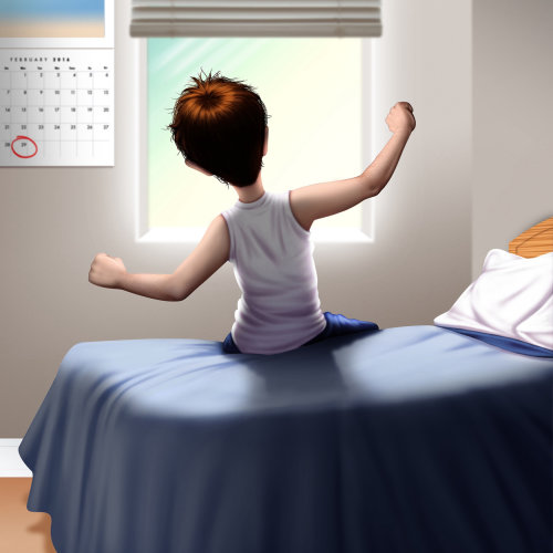Illustration of boy waking up
