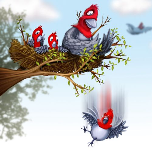illustration of Birds with her babies in the nest