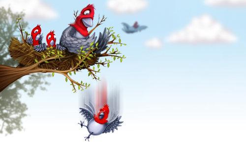 鸟儿与她的婴儿在巢中的插图