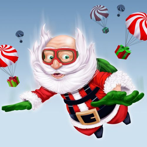 Children illustration santa flying in air