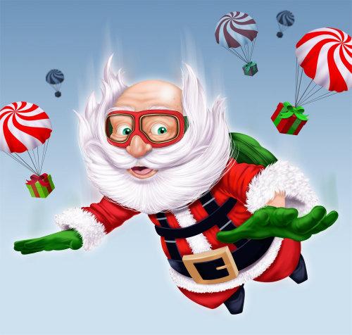 Children illustration santa flying in air