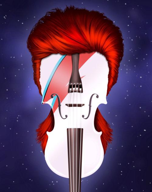 Illustration of Violin in human face