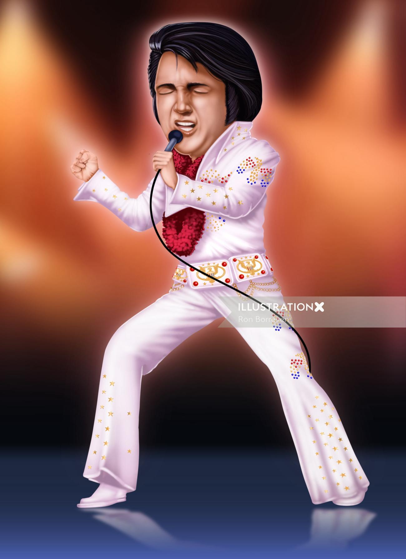 Illustration of a singer singing passionately