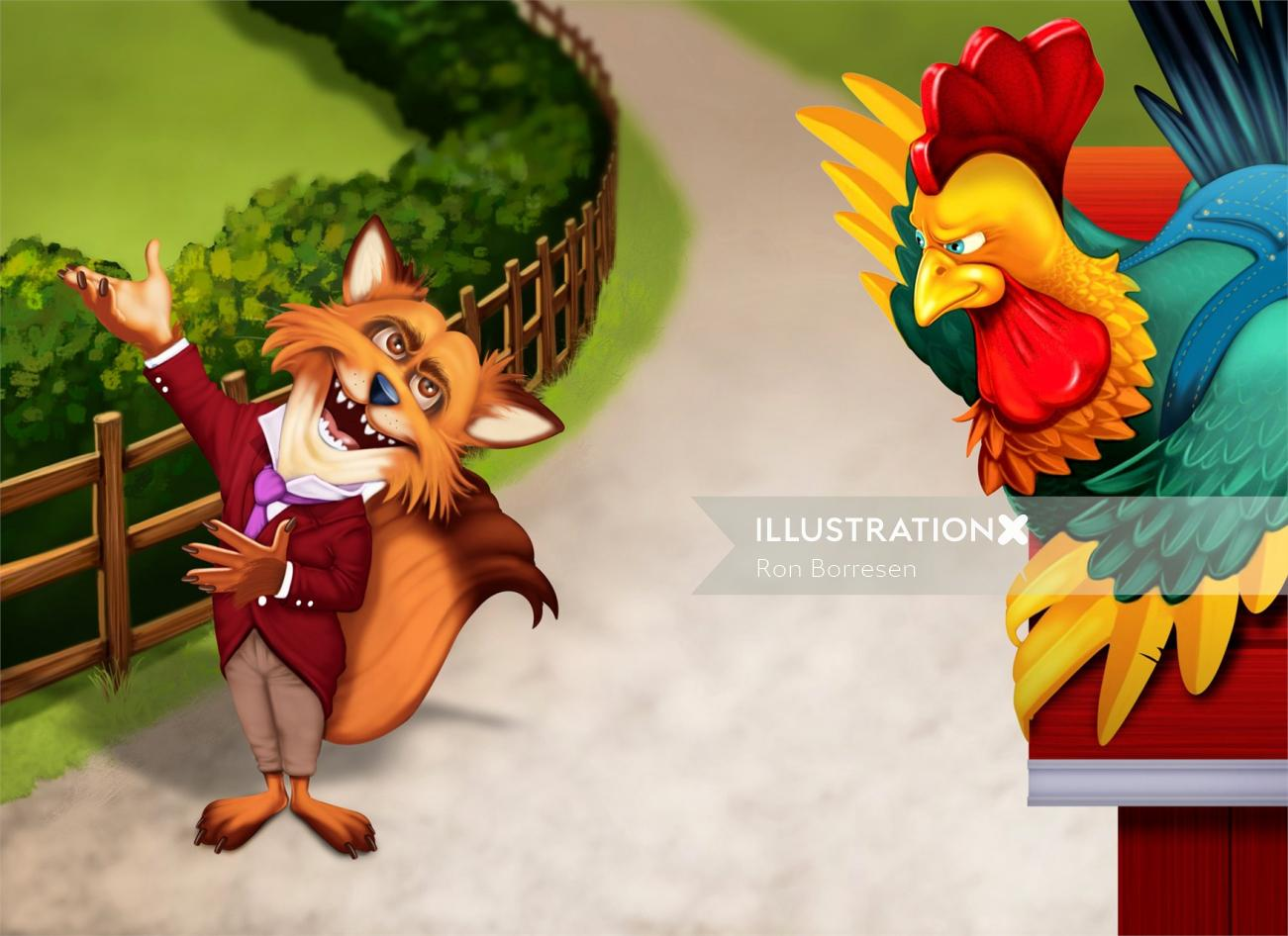 Children illustration of Fox and rooster
