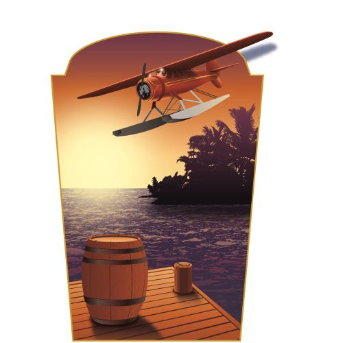 Illustration of aeroplane in sea