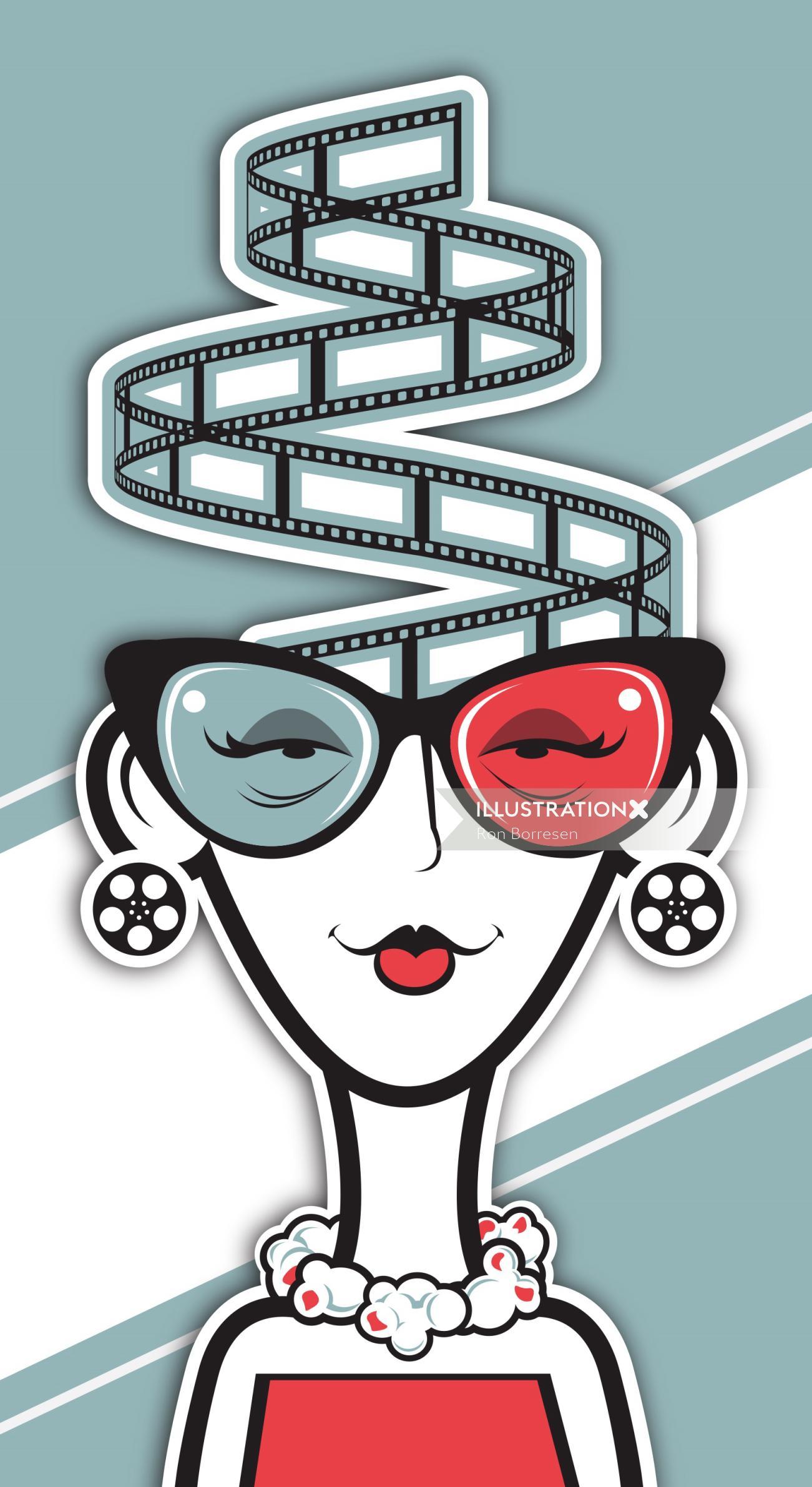 Graphic design of movie girl