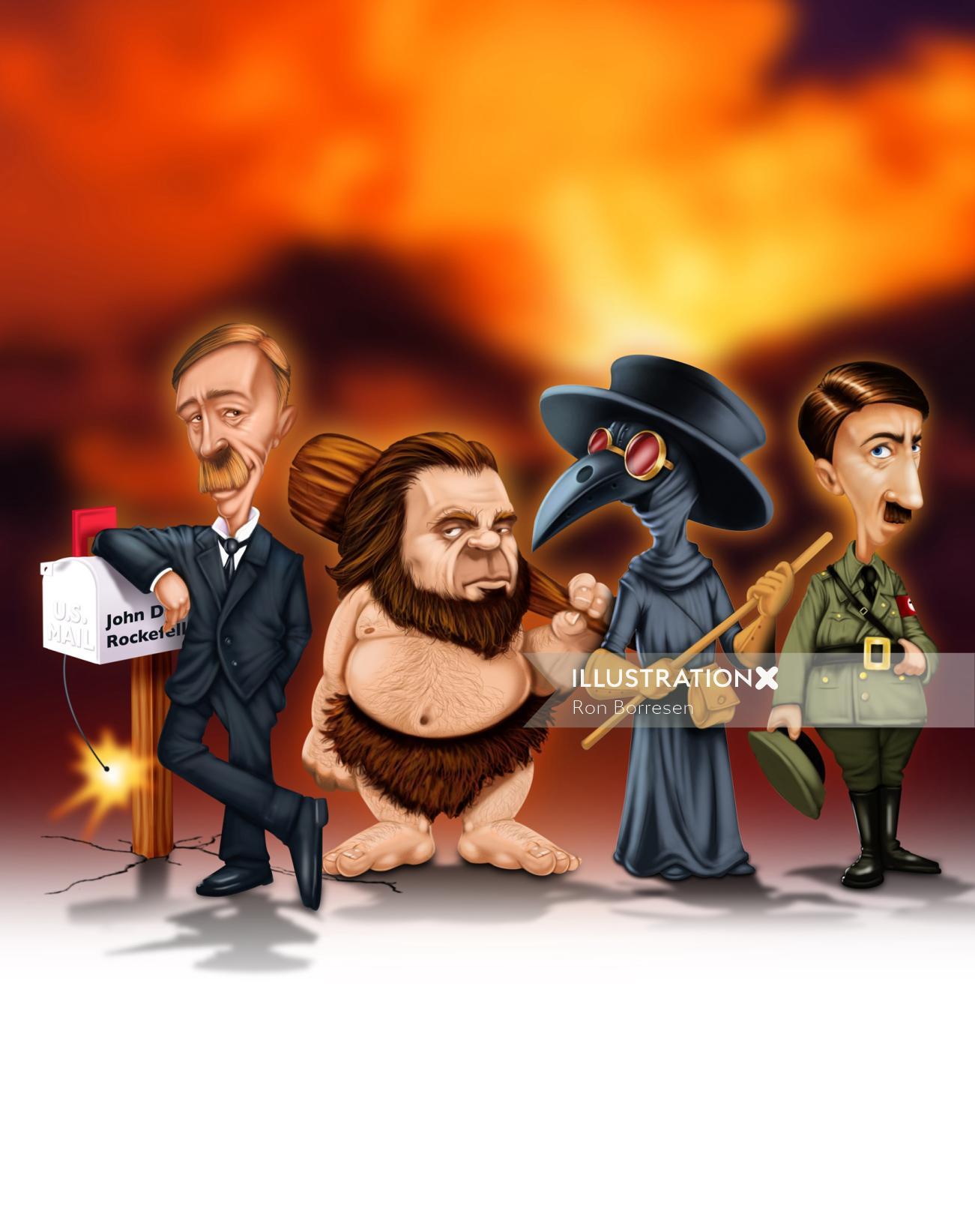 Digital illustration of cartoon people