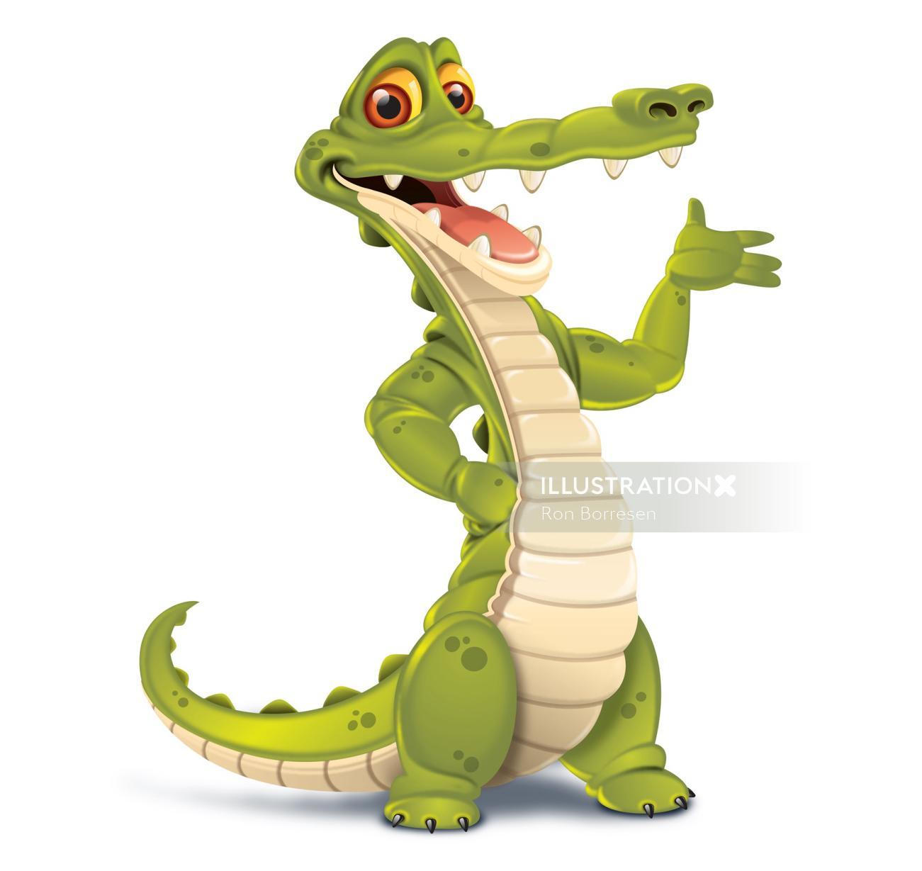 Character design of smiley crocodile