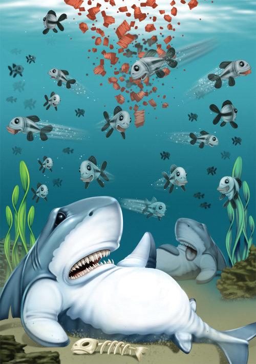 Cartoon & humour illustration of shark
