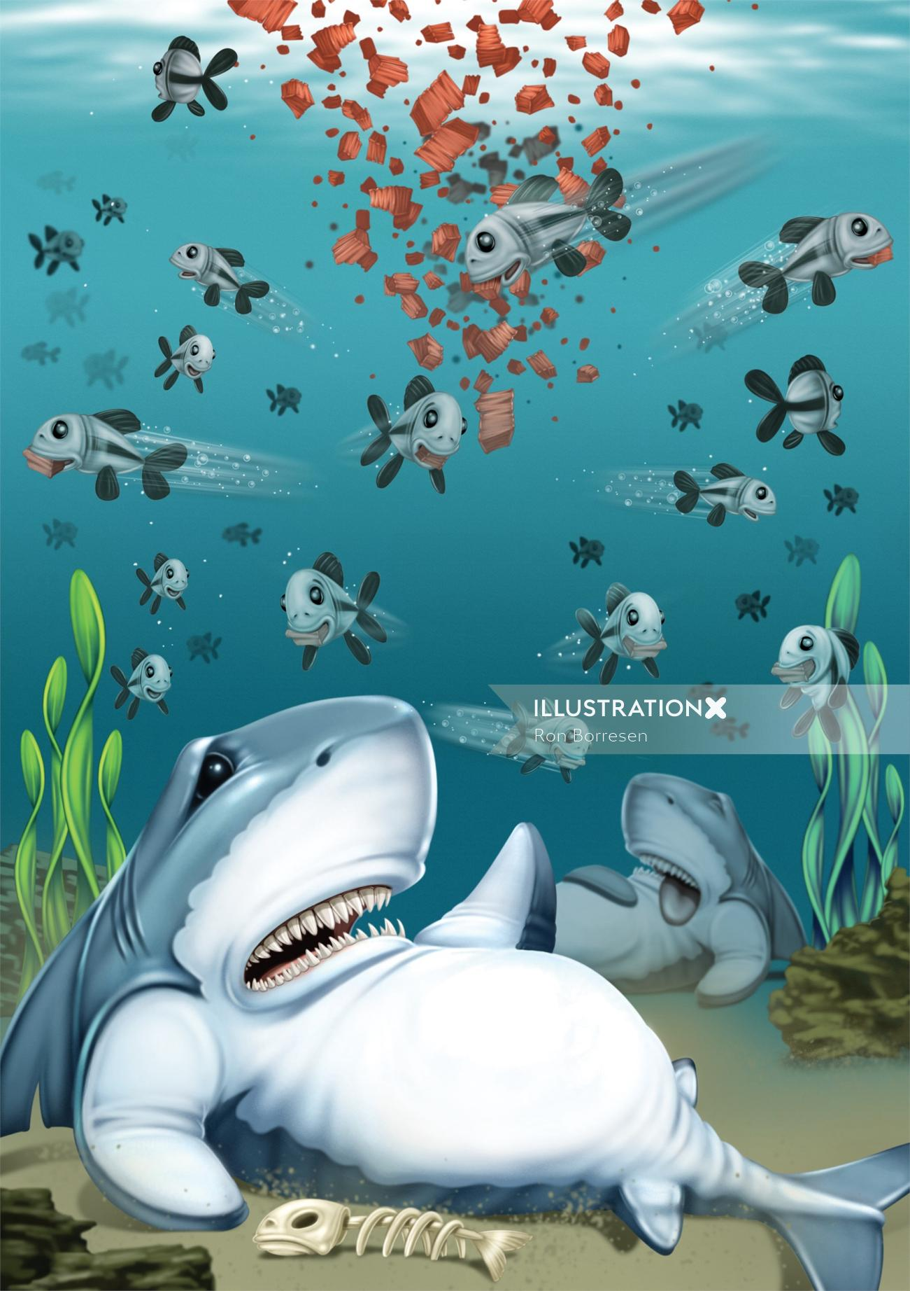 Cartoon & humour illustration of shark