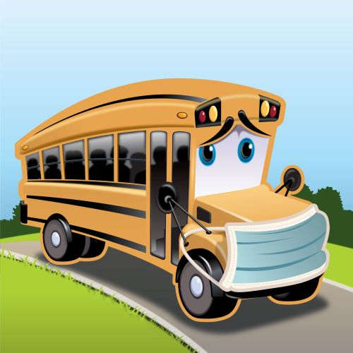 Character design of bus with sad face