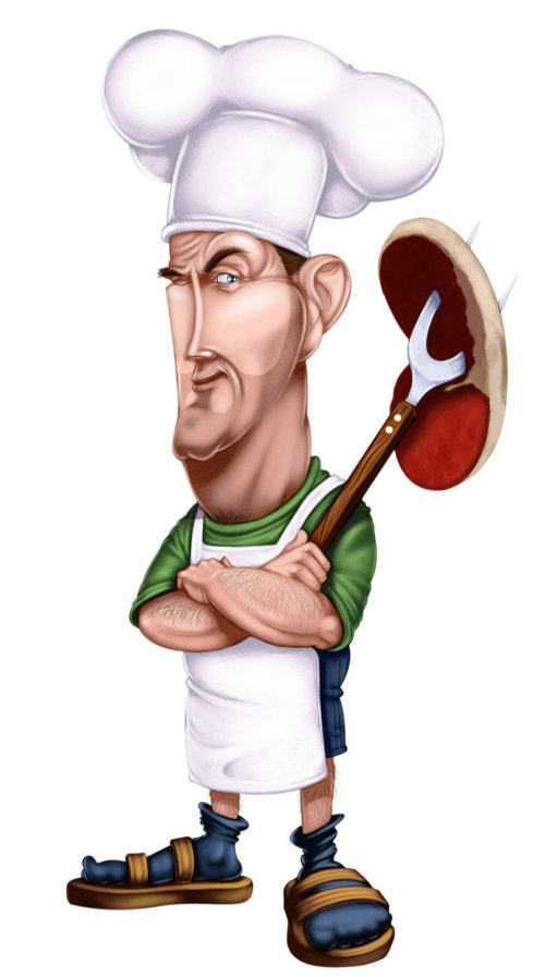 cartoon character of Backyard chef