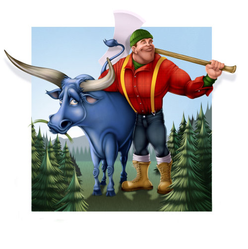 Paul Bunyan and Babe the big blue ox graphic art