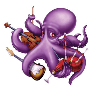 Cartoon octopus playing music illustration by Ron Borresen
