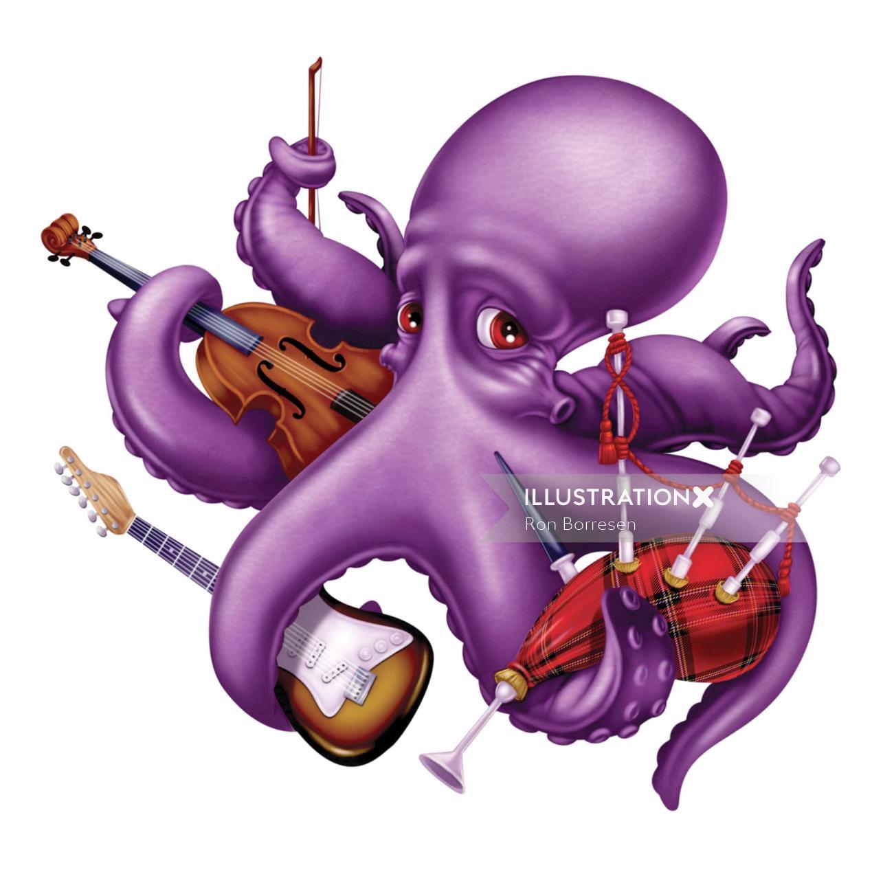 Cartoon octopus playing music illustration by Ron Borresen