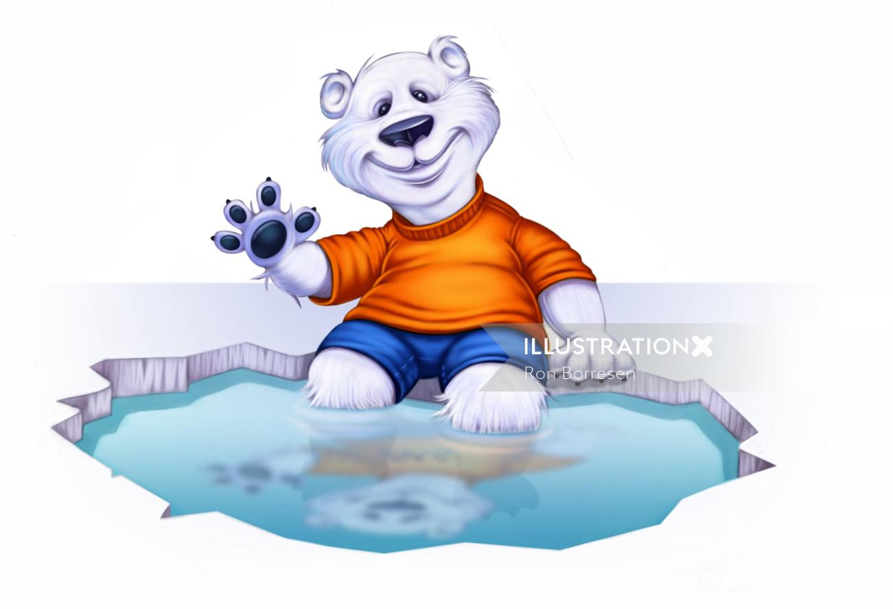 Cartoon teddy bear illustration by Ron Borresen