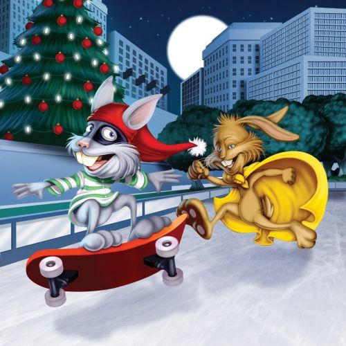 Super Cute Christmas Holiday Bunny