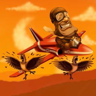 pilot on plane, hit the birds illustration