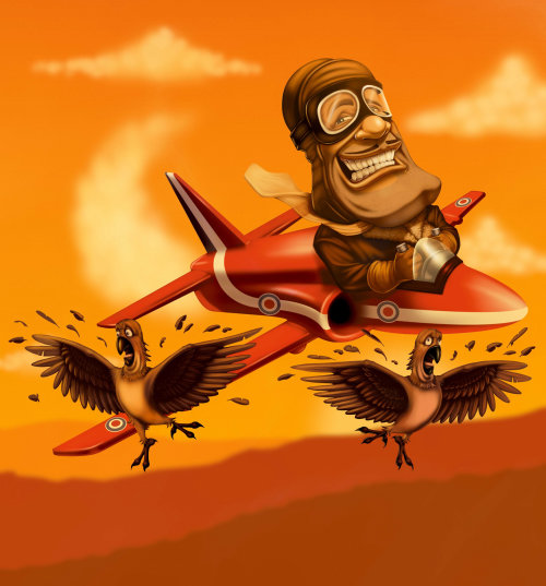 pilot on plane, hit the birds illustration