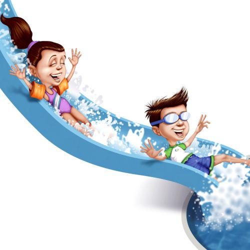 children enjoying water slide