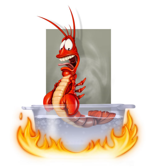 Computer generated shrimp in hot water