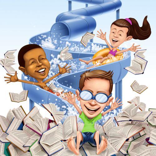 children with books enjoying water slide