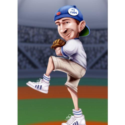 Cartoon player pitching ball