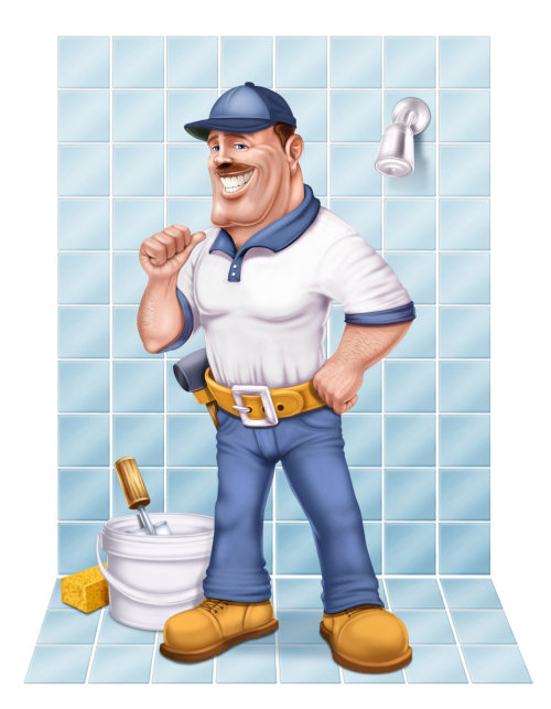 Cartoon man cleaning bathroom