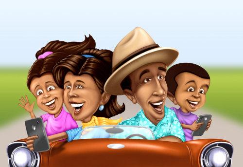 Cartoon people travelling in car