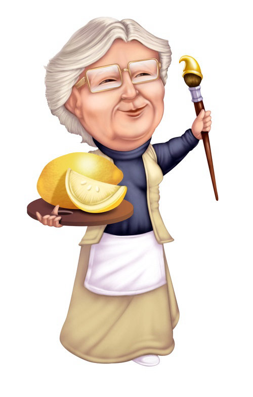 Computer generated granny with lemon