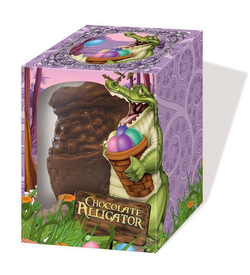 Illustration of chocolate Alligator product box