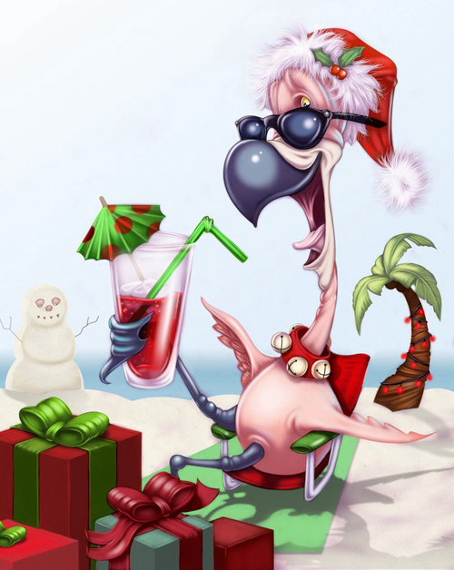 Computer generated turkey enjoying christmas