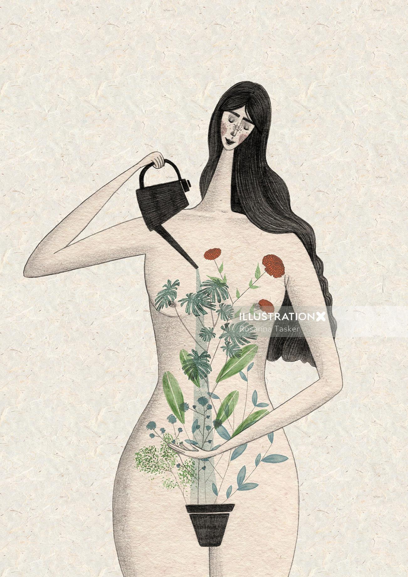 Illustration of gardening woman