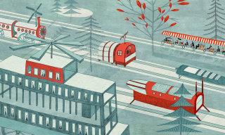 Illustration of futuristic vehicles