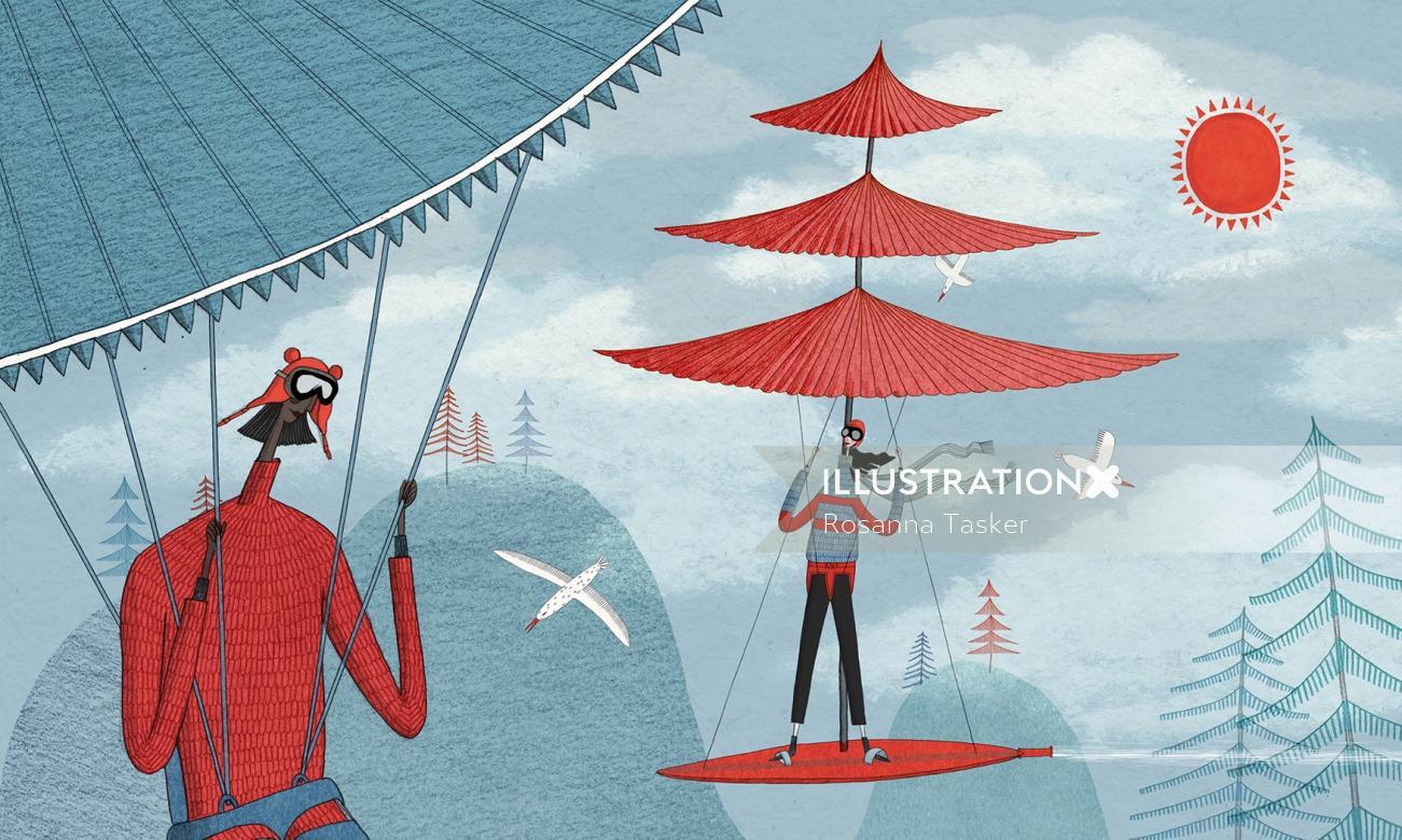 Illustration of paragliding