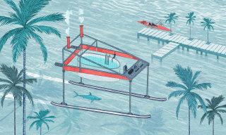 Illustration of futuristic ocean