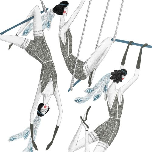 Illustration of circus trapeze swingers