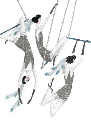 Illustration of circus trapeze swingers