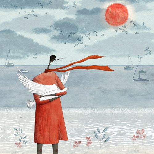 peace, dove, sun, beach, sand, sea, seagull, seagulls, woman, seaside, red, blue, limited colour